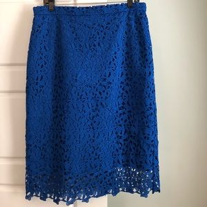 J.Crew collections blue lace skirt